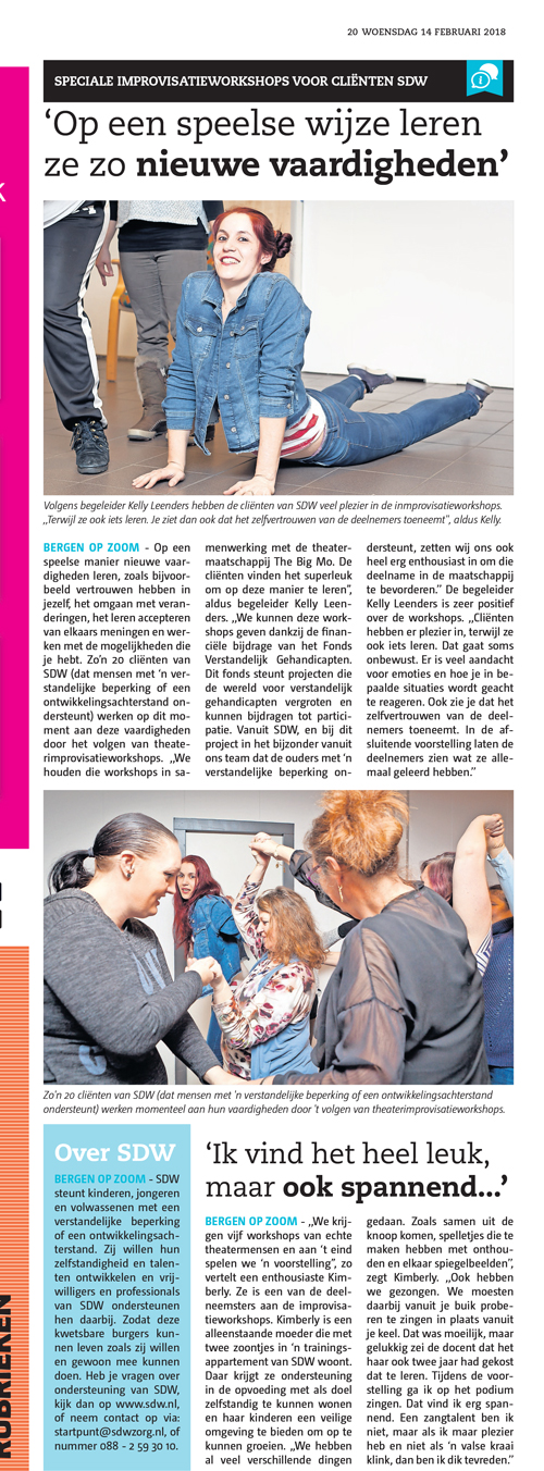 krantenartikel workshop improviseren theater The Big Mo