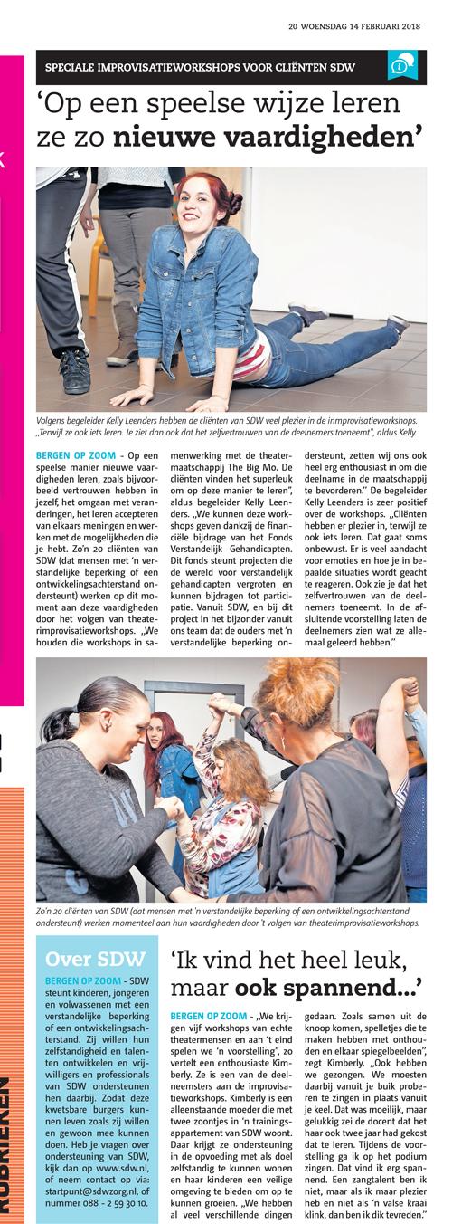 krantenartikel workshop improviseren theater The Big Mo